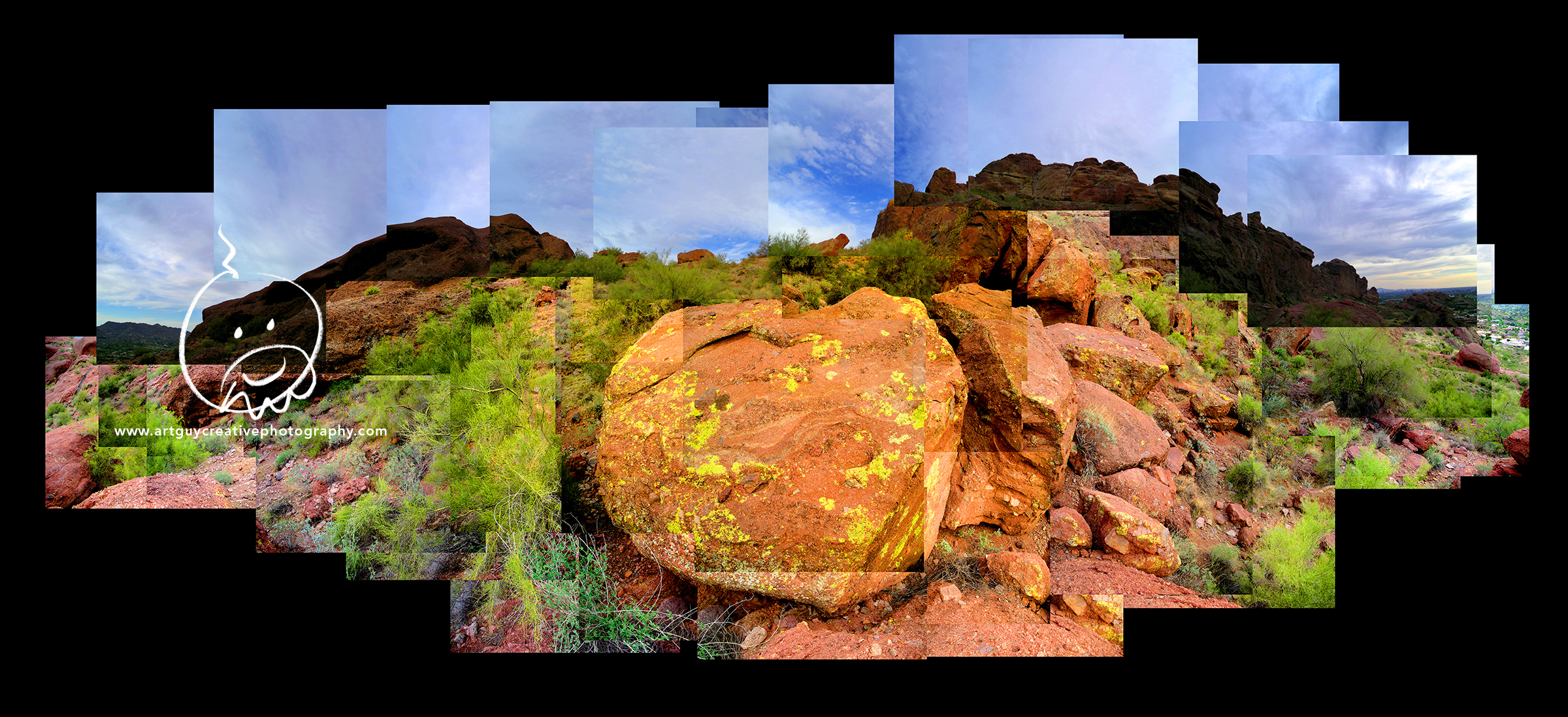 Camelback Mountain Arizona Desert Photography Blue Sky and Boulders
